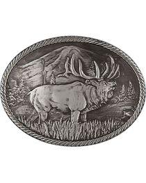 Montana Silversmiths Gunmetal Outdoor Series Wild Elk Carved Buckle, , hi-res