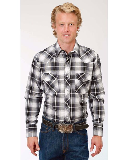 Roper Men's Black/White/Gold Plaid Long Sleeve Snap Shirt - Big & Tall, Black, hi-res