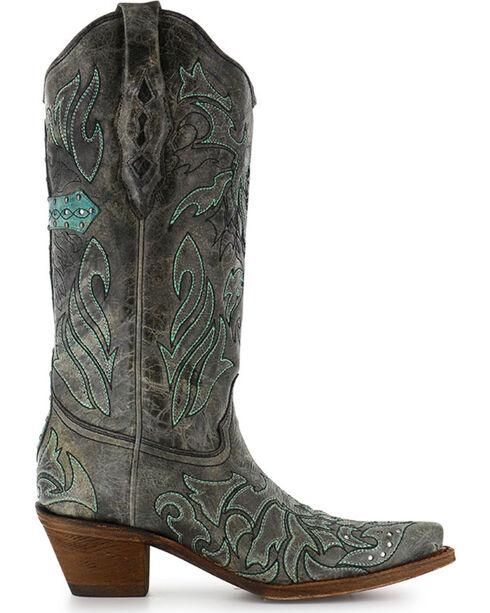 Corral Women's Cross & Crystals Snip Toe Western Boots, Black, hi-res