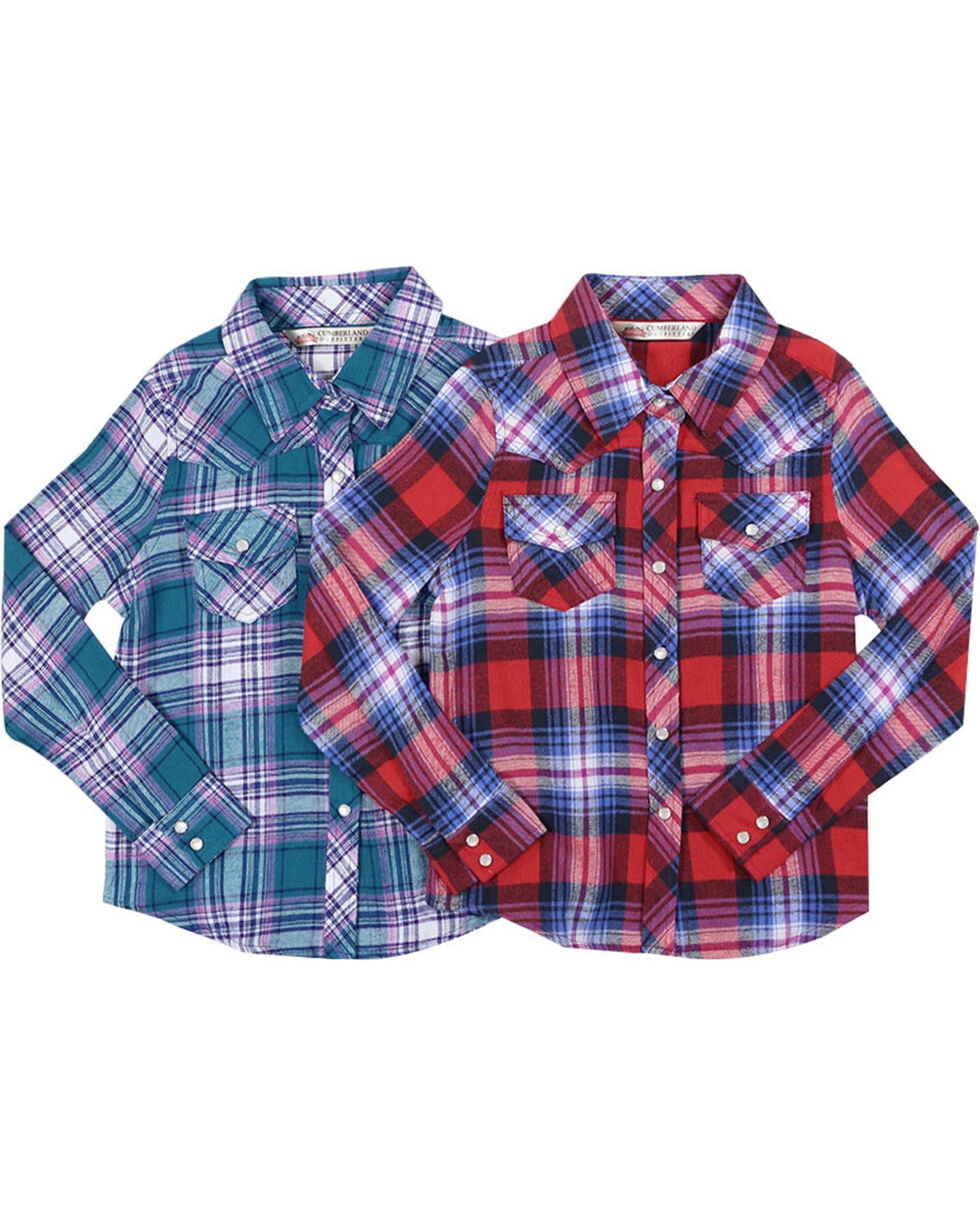 Cumberland Outfitters Girls' Assorted Pretty Plaid Long Sleeve Flannel, Multi, hi-res