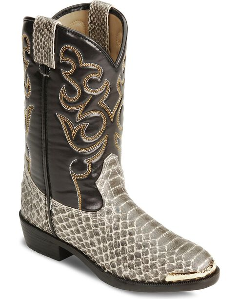 Smoky Mountain Children's Snake Print Cowboy Boots - Round Toe, Grey, hi-res