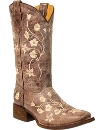 Corral Girls' Light Pink Embroidery Cowgirl Boots - Square Toe, , hi-res