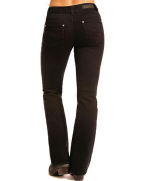 Rock & Roll Cowgirl Women's Black Crossing Flat Jeans - Boot Cut , Black, hi-res