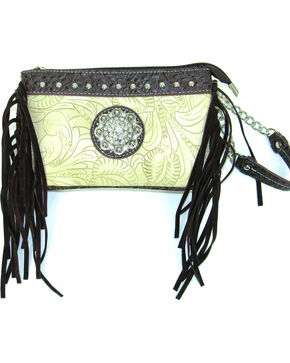 Savana Women's Ivory Tooled Crossbody/Wristlet with Fringe, Ivory, hi-res