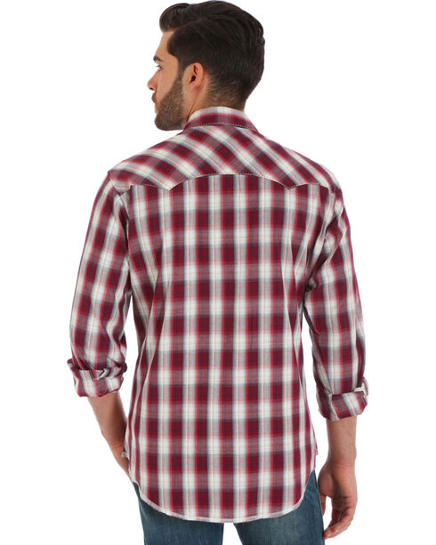 Wrangler Men's Red Plaid Fashion Snap Long Sleeve Shirt, Red, hi-res