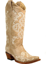 Corral Women's Bone Embroidered Cowgirl Boots - Snip Toe, , hi-res
