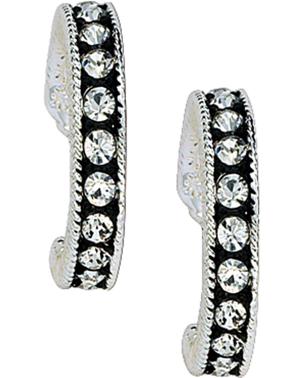 Montana Silversmiths Women's Crystal Shine Hoop Earrings, Silver, hi-res