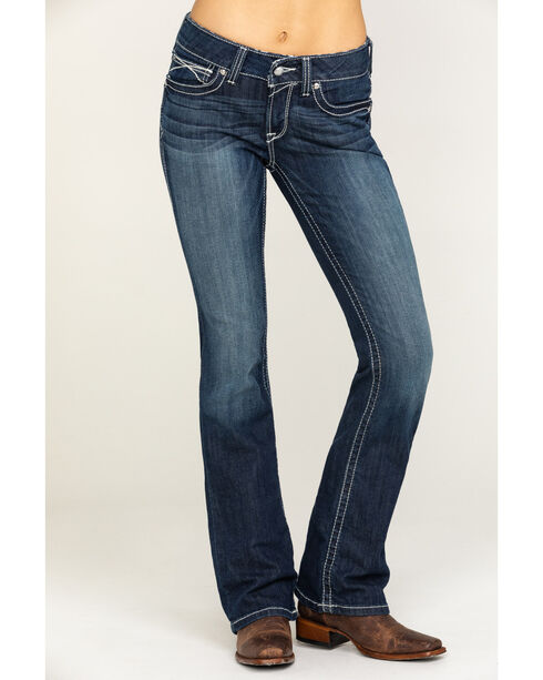 Ariat Women's Rosy Whipstitch Boot Cut Jeans, Blue, hi-res