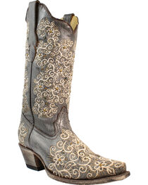 Corral Women's Grey Floral Embroidered Studs & Crystals Cowgirl Boots - Snip Toe, , hi-res