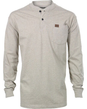 Wrangler Men's Riggs Workwear Oatmeal Long Sleeve Henley Shirt - Big, Oatmeal, hi-res