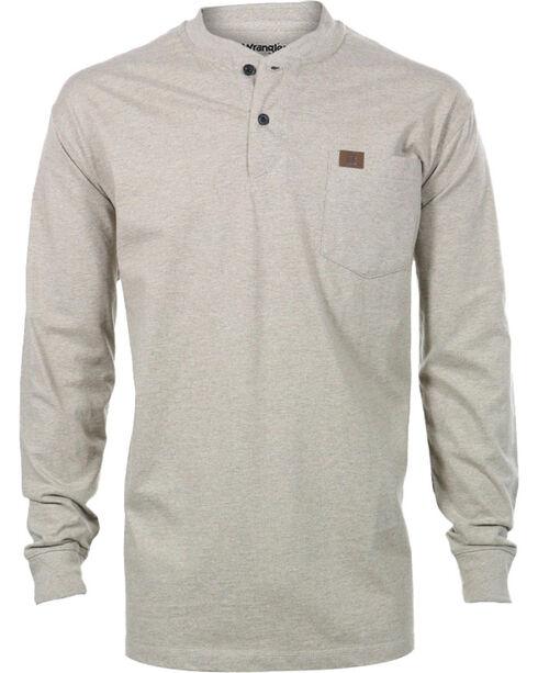 Wrangler Men's Riggs Workwear Oatmeal Long Sleeve Henley Shirt - Big, Oatmeal, hi-res