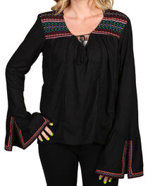Rock & Roll Cowgirl Women's Embroidered Peasant Blouse, , hi-res