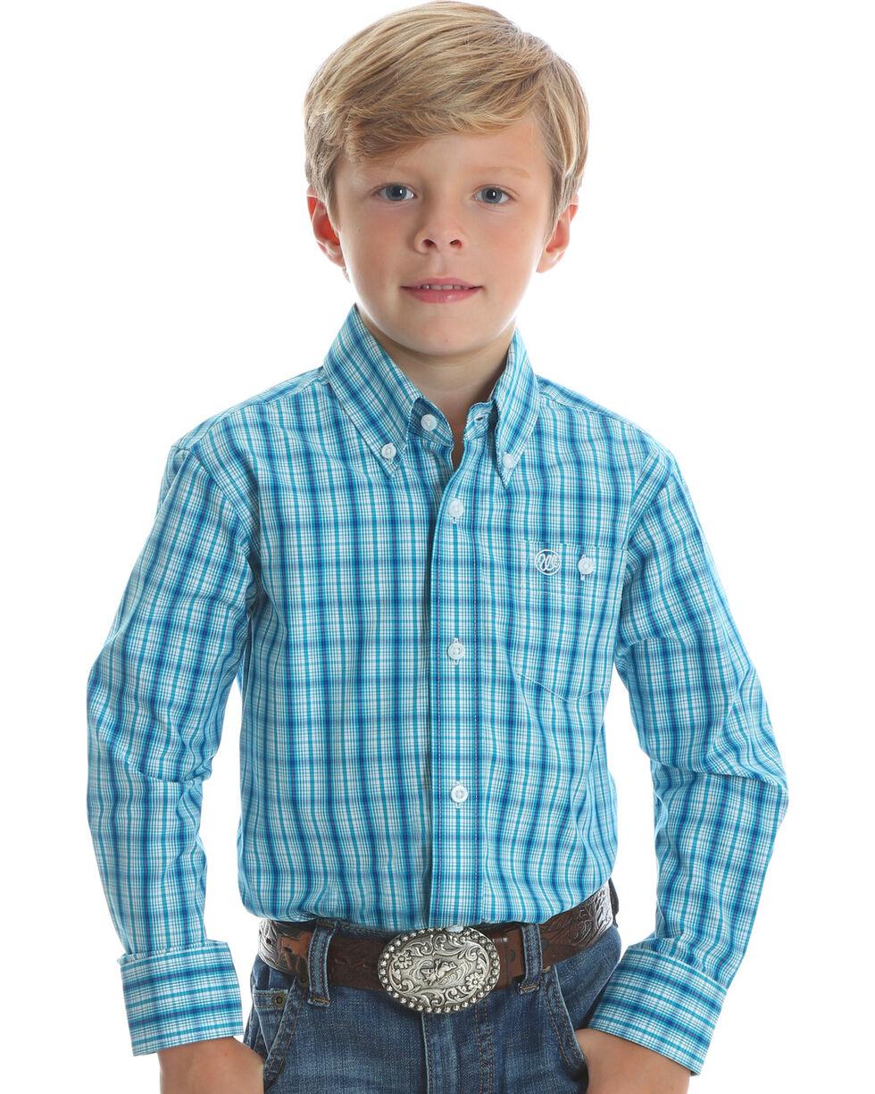 Wrangler Boys' Teal Classic Plaid Western Shirt , Teal, hi-res