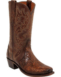 Lucchese Rust Dwight Lizard Cowboy Boots - Square Toe  , , hi-res