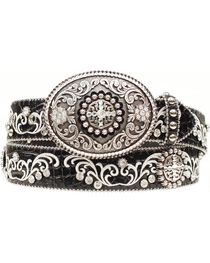 Ariat Croc Print Embroidered Bling Belt, , hi-res
