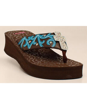 Blazin Roxx Women's Miranda Flip Flops, Brown, hi-res