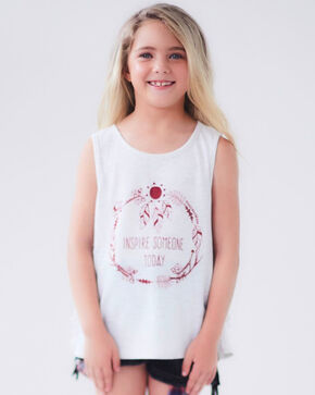 Idol Mind Girls' Inspire Someone Swingy Tee, Grey, hi-res