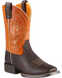 Ariat Boys' Quickdraw Chocolate Elephant Print Cowboy Boots, Chocolate, hi-res
