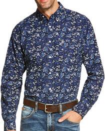 Ariat Men's Indigo Olex Print Long Sleeve Shirt , , hi-res