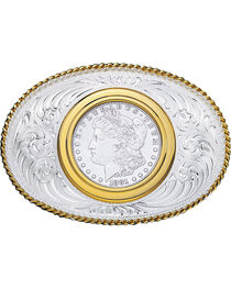Montana Silversmiths Coin Holder Silver Dollar Western Belt Buckle, , hi-res