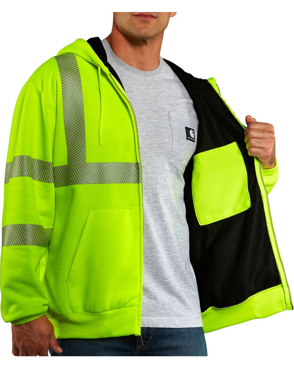 Carhartt Men's High Visibility Thermal Lined Class 3 Sweatshirt, Lime, hi-res