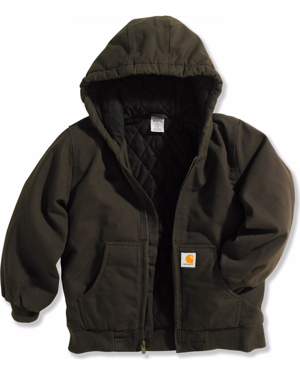 Carhartt Boys' Active Quilted Flannel Jacket , Chocolate, hi-res