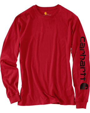 Carhartt Men's Workwear Logo Long Sleeve T-Shirt, Red, hi-res