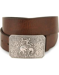 Nocona Men's Smooth Leather Belt and Buckle, , hi-res