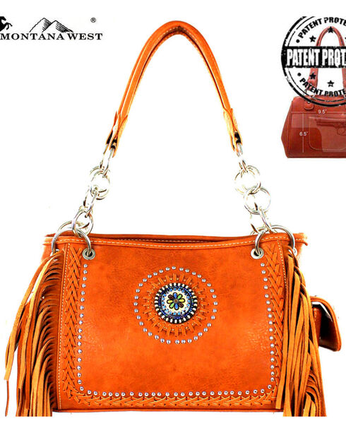 Montana West Brown Fringe Collection Satchel, Brown, hi-res