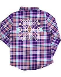 Shyanne® Girls' Plaid Button Down Flannel, Magenta, hi-res