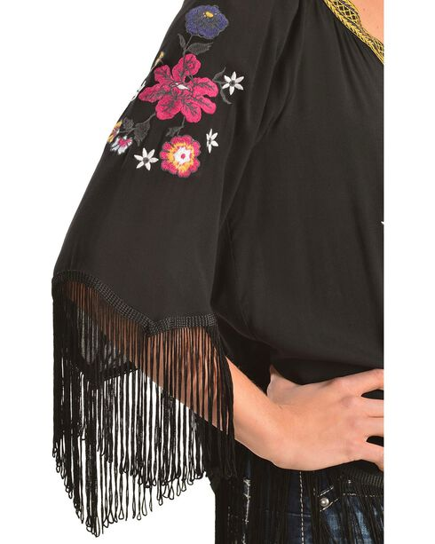 Ariat Lou Challis Embroidered Fringe Top, Black, hi-res