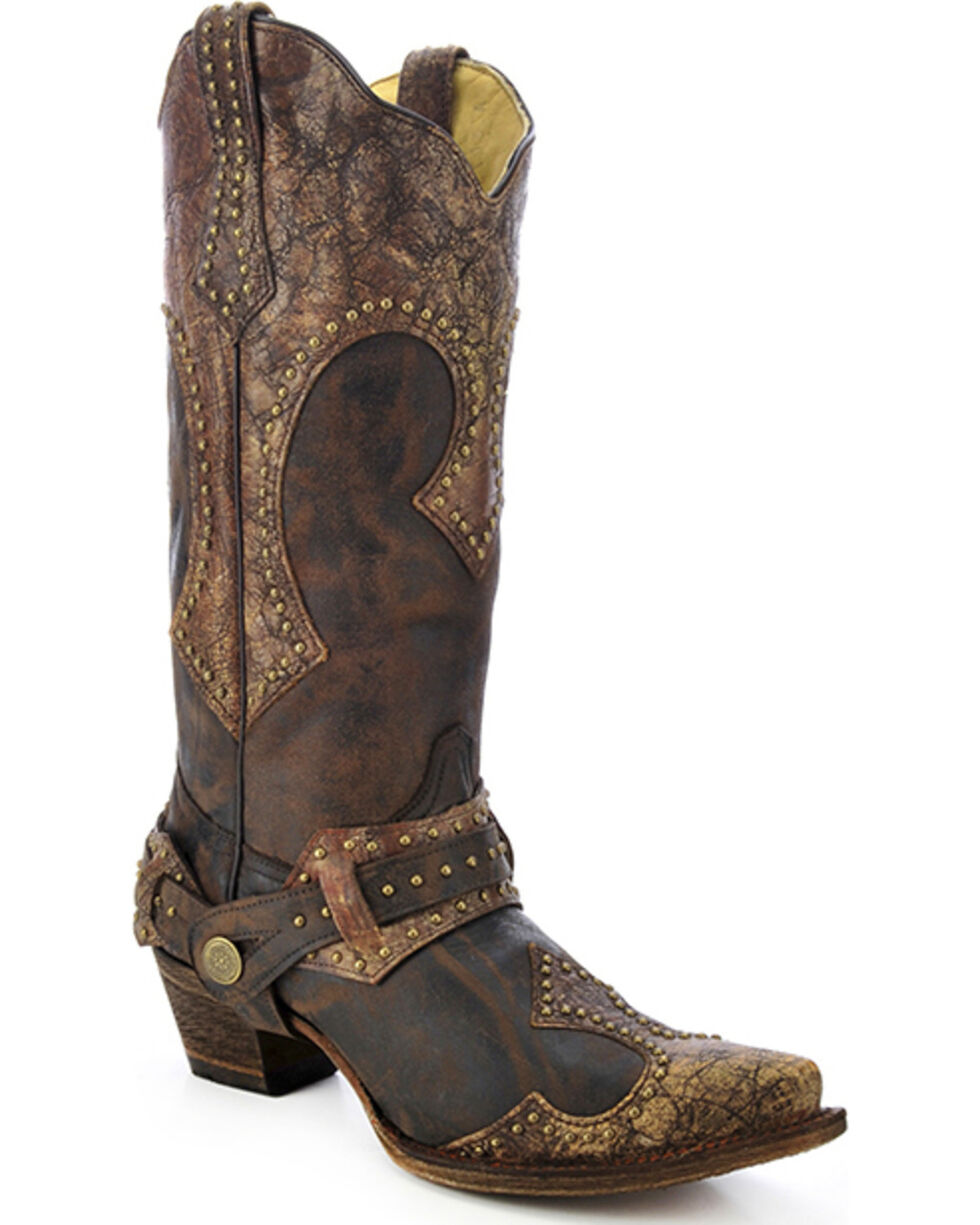 Corral Women's Studded Harness Western Boots, Brown, hi-res