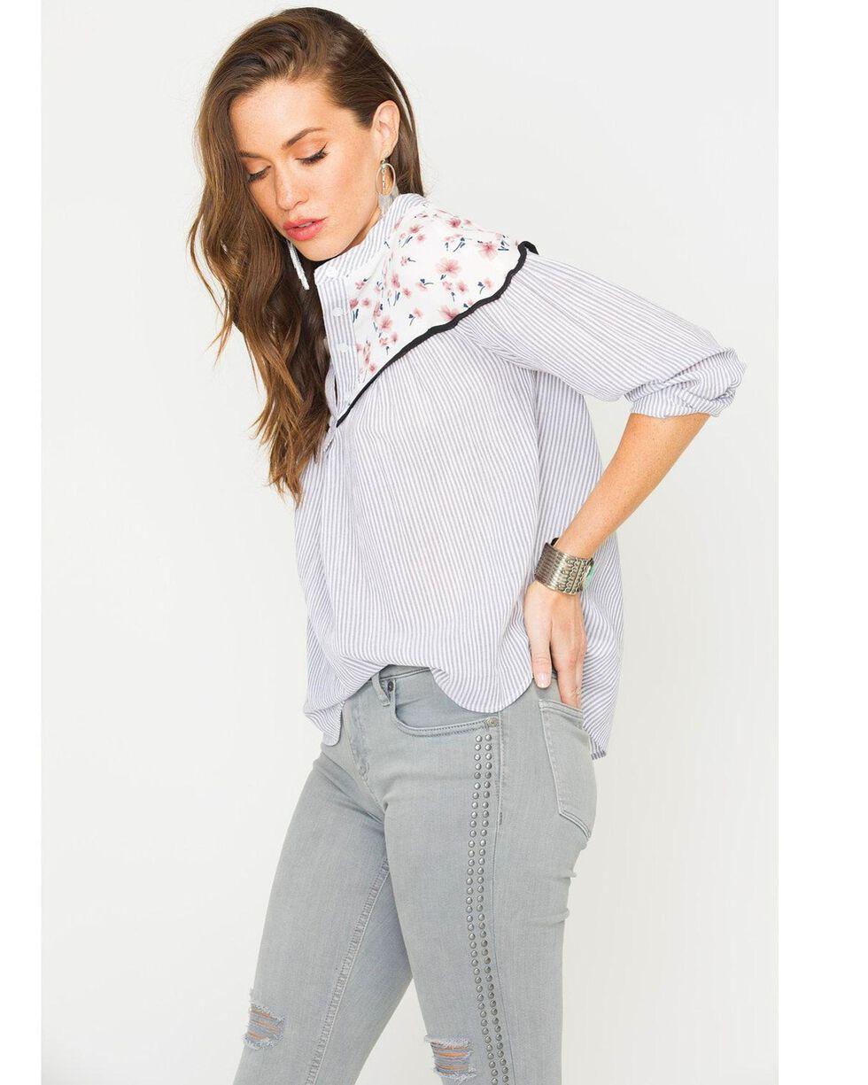 Polagram Women's Floral Print Long Sleeve Top , Black, hi-res