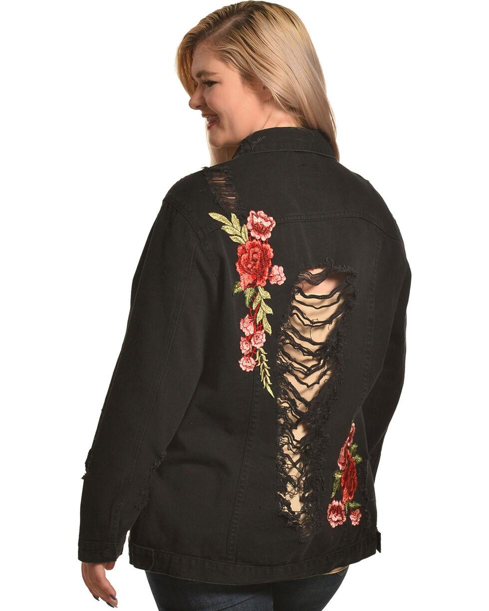 Boom Boom Jeans Women's Black Rose Embroidered Jacket - Plus , Black, hi-res