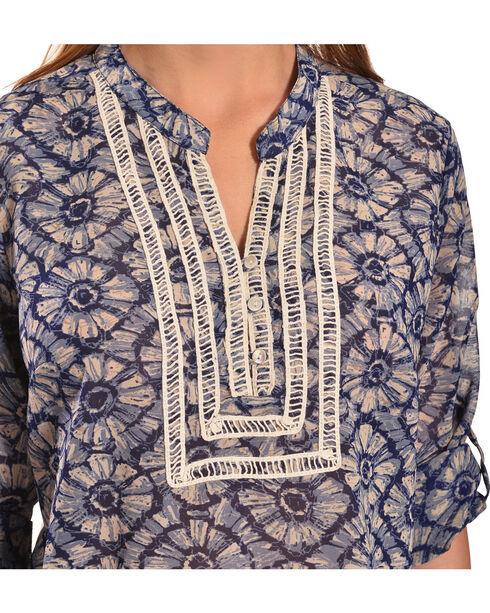 Tantrums Women's Blue Floral Crochet Peasant Top , Blue, hi-res