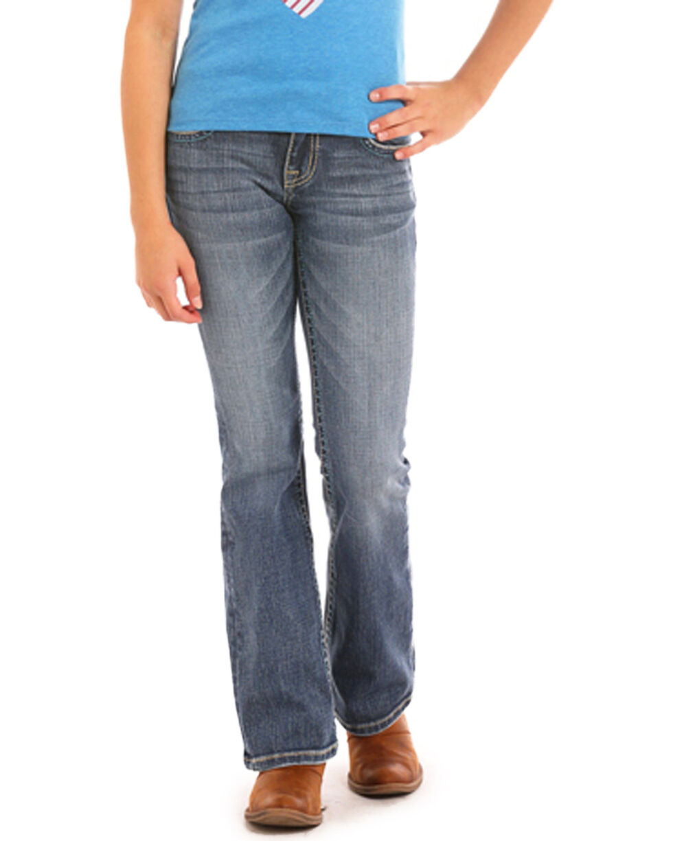 Rock & Roll Cowgirl Girls' Criss Cross Leather Jeans (4-16) - Boot Cut, Indigo, hi-res