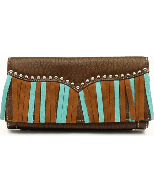 Blazin' Roxx Women's Turquoise & Brown Fringe Wallet, Brown, hi-res