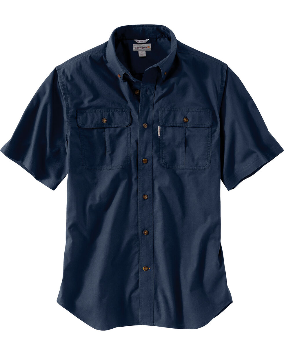 Carhartt Men's Foreman Stretch Short Sleeve Work Shirt, Navy, hi-res