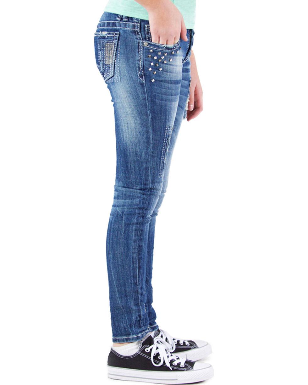 Grace in LA Girls' Embellished Skinny Jeans , , hi-res