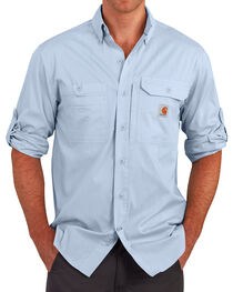 Carhartt Men's Light Blue Force Ridgefield Solid Long-Sleeve Shirt, , hi-res