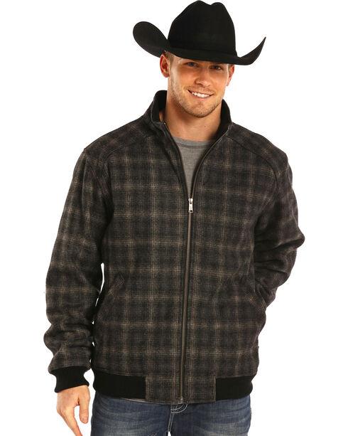 Powder River Outfitters Men's Black Plaid Wool Bomber Coat , , hi-res