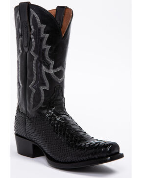 Dan Post Men's Black Python Cowboy Boots - Round Toe, Black, hi-res