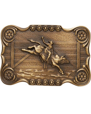 AndWest Men's Scalloped Bull Rider Belt Buckle, Brass, hi-res