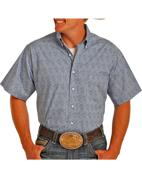 Tuf Cooper Performance by Panhandle Men's Button Down Short Sleeve Shirt, Blue, hi-res