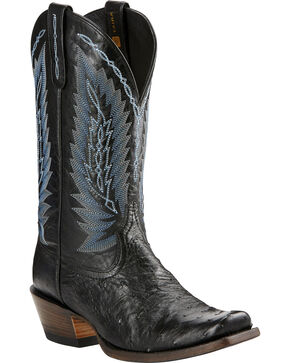 Ariat Men's Black Full Quill Ostrich Exotic Boots, Black, hi-res