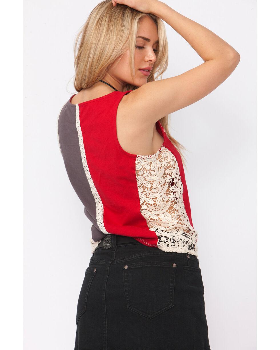 Shyanne Women's Crochet Lace Graphic Tank Top, Multi, hi-res