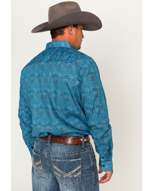 Cody James® Men's Paisley Long Sleeve Shirt, Blue, hi-res
