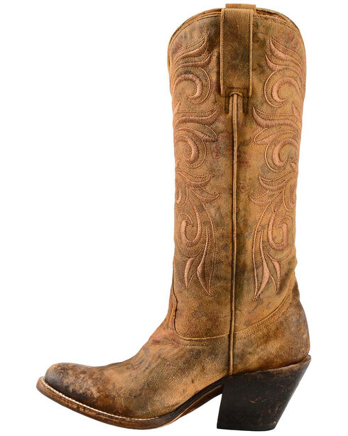 Lucchese Women's Laurelie Embroidered Floral Western Boots, Brown, hi-res