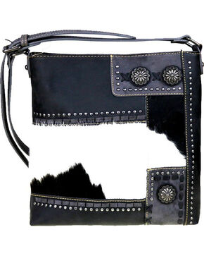 Trinity Ranch Women's Hair-On Concealed Carry Crossbody Bag , Black, hi-res