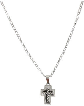 Cody James® Men's Twisted Rope Cross Necklace, Silver, hi-res